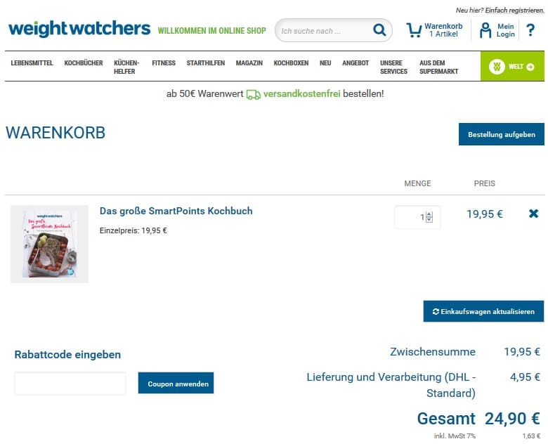 Weight watchers online oder treffen