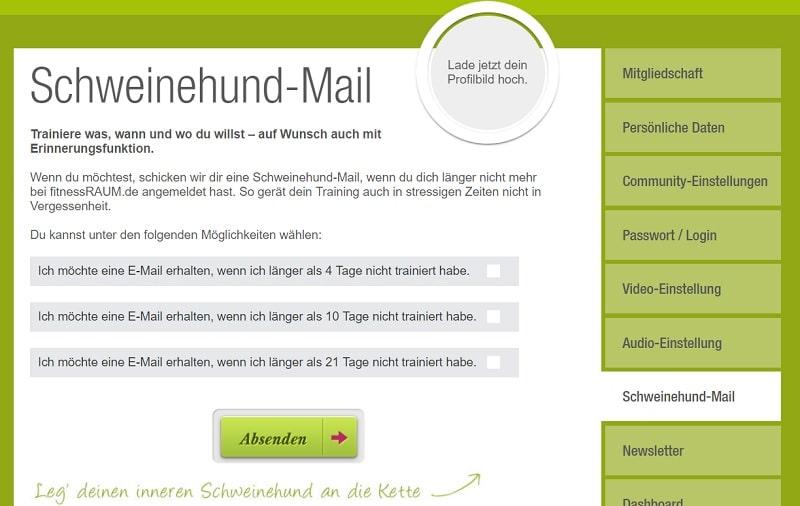 Schweinehund-Mail fitnessRAUM