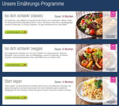 fitnessRAUM Ernährungs Programme