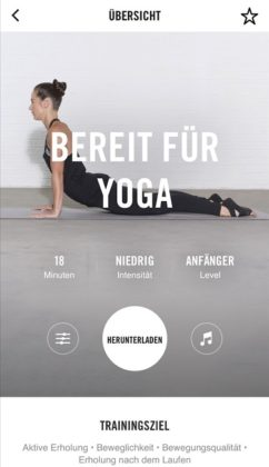 Nike+ Training Club App Bereit für Yoga Workout