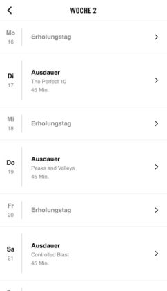 Nike+ Training Club App Trainingsplan Woche 2
