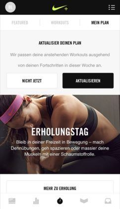 Nike+ Training Club App dynamischer Trainingsplan
