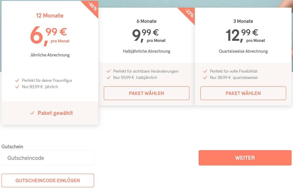 Gymondo Kosten - monatliche Preise