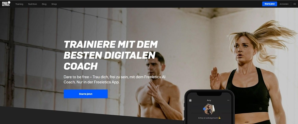 Webseite Freeletics